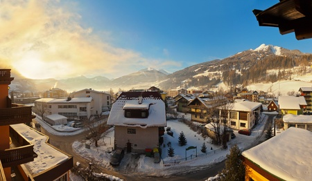 Sunrise in mountains ski resort Bad Hofgastein Austria - nature and architecture background photo