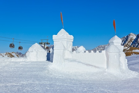 cableway: Snow fort in mountains ski resort Innsbruck Austria - nature and sport background
