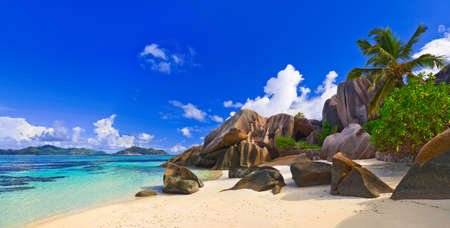 Panorama of beach Source dArgent at Seychelles - nature background photo