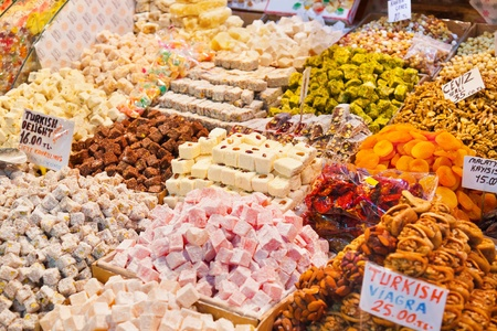 locum: Turkish delight sweets at the Spice Market in Istanbul Turkey