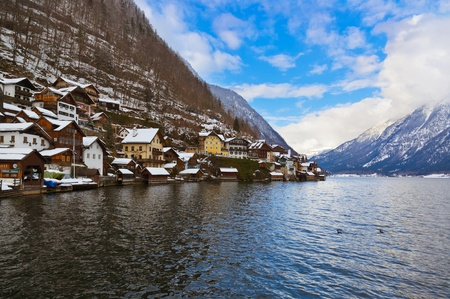 Village Hallstatt on the lake Hallstatter at winter - Salzburg Austria photo