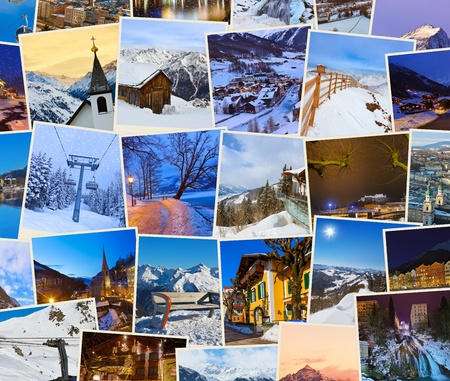 Stack of mountains ski Austria images - nature and sport background (my photos) photo