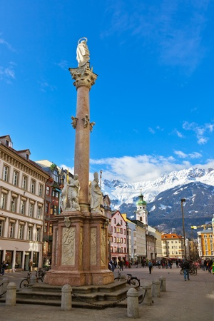 Our Lady statue at old town in Innsbruck Austria - architecture background photo