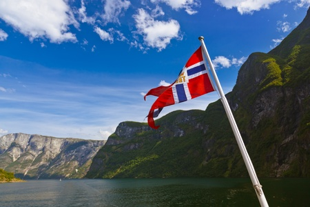 Norway flag and Sognefjord - nature and travel background photo