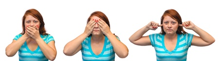 wise woman: Speak no evil, see no evil and hear no evil - girl isolated on white background