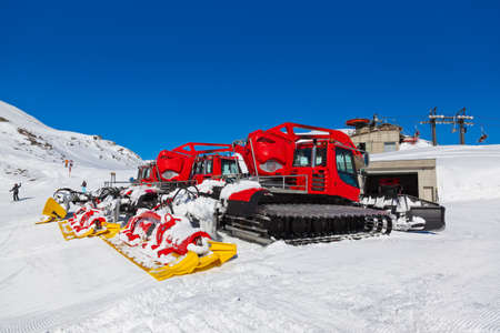 Machines for skiing slope preparations at Bad Hofgastein Austria - nature and sport background Stock Photo - 22265670