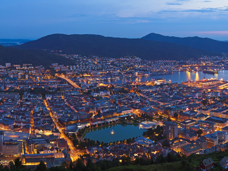 Cityscape of Bergen Norway - architecture background photo