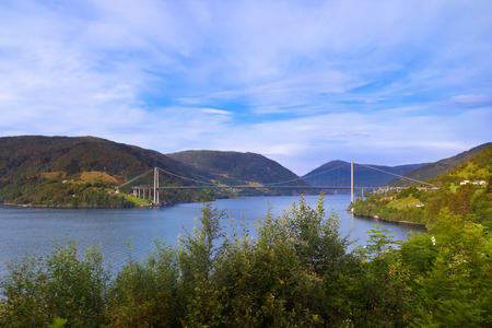 Bridge across fjord in Norway - nature and travel background photo