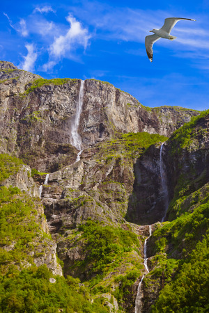 Waterfall in Fjord Sognefjord Norway - nature and travel background photo