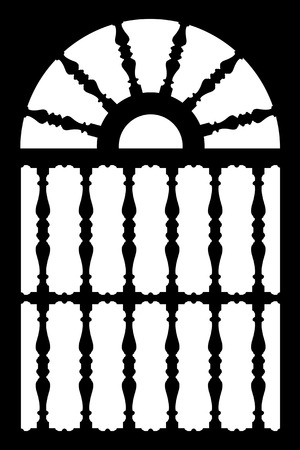 Black forged door with decorative lattice isolated on white background photo