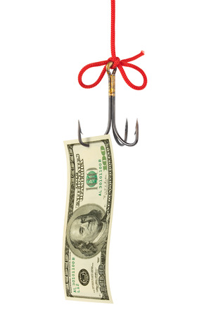 decoy: Fishing hook and money isolated on white background