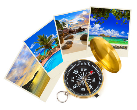 Summer beach shots and compass - nature and travel  photo