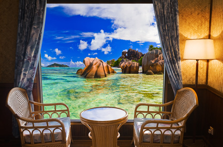 beach window: Hotel room and beach landscape - vacation concept background