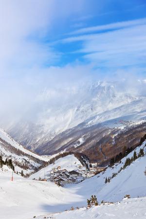 Mountain ski resort Obergurgl Austria - nature and sport background photo