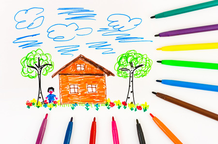 child's: Childs drawing and pens - abstract art background