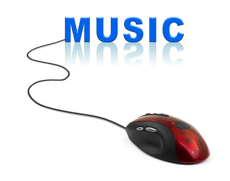 Computer mouse and word Music - internet concept photo