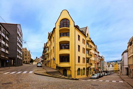 alesund: Cityscape of Alesund Norway - architecture background
