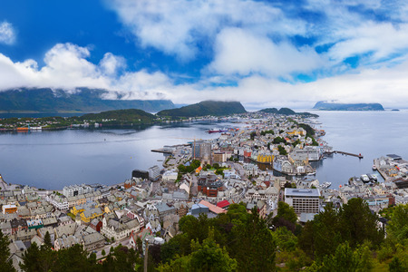 Cityscape of Alesund Norway - nature and architecture background photo