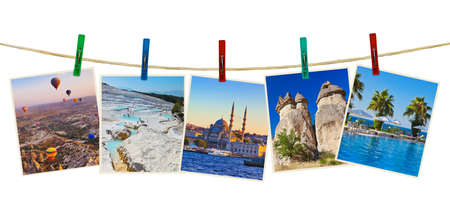 Turkey travel photography on clothespins isolated on white background Stock Photo