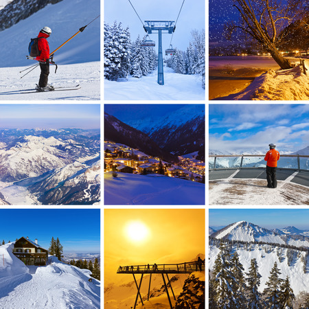 Collage of mountains ski images - nature and sport background (my photos) photo
