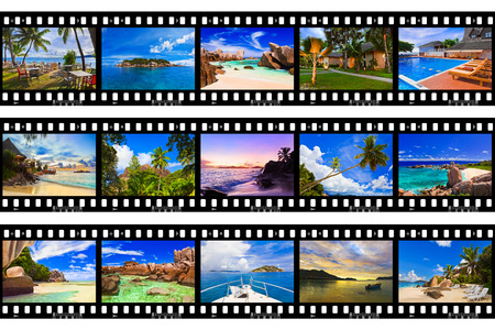 Frames of film - nature and travel (my photos) isolated on white background photo
