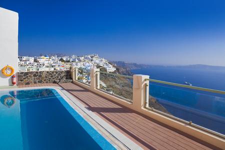 firostefani: Santorini view - Greece (Firostefani) - vacation background