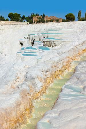 Travertine pools and terraces - Pamukkale Turkey Stock Photo - 22877506