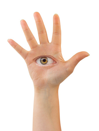 Hand with eye isolated on white background photo
