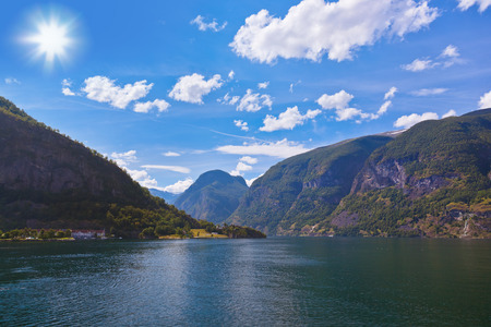 Fjord Sognefjord in Norway - nature and travel background photo