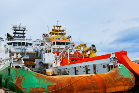 fishing rig: Large industrial ship in Stavanger port - Norway - transportation background Stock Photo