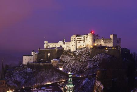 City and castle Hohensalzburg at sunset - Salzburg Austria