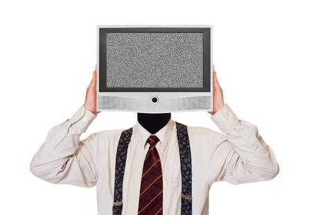 tonto: Hombre con pantalla de tv ruido de la cabeza aislada en el fondo blanco