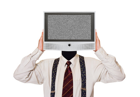Man with noisy tv screen for head isolated on white background photo