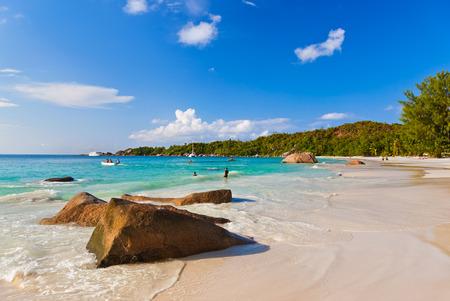 lazio: Beach Anse Lazio at island Praslin Seychelles - nature background Stock Photo
