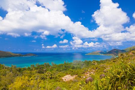 zimbabwe: Paisaje de la isla de Praslin Seychelles - fondo de vacaciones Foto de archivo