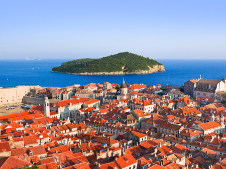 Town Dubrovnik and island in Croatia - abstact travel  photo
