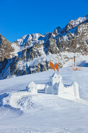 Snow fort in mountains ski resort Innsbruck Austria - nature and sport  photo