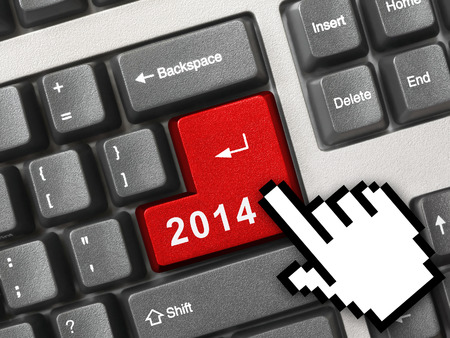 Computer keyboard with 2014 key - holiday concept Stock Photo - 23581024