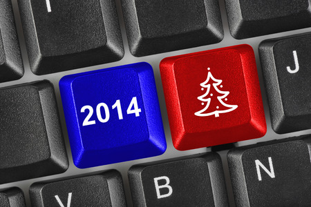 Computer keyboard with Christmas keys - holiday concept Stock Photo - 23551238