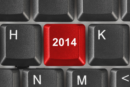 Computer keyboard with 2014 key - holiday concept Stock Photo - 23743996