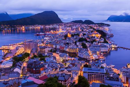 alesund: Cityscape of Alesund Norway - architecture