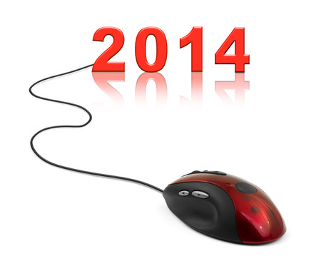 Computer mouse and 2014 - new year concept photo