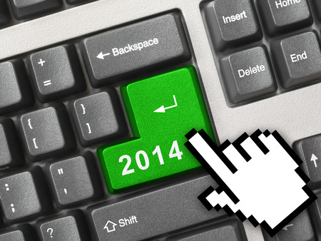 Computer keyboard with 2014 key - holiday concept Stock Photo - 23874746