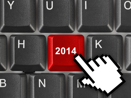 Computer keyboard with 2014 key - holiday concept Stock Photo - 23874754