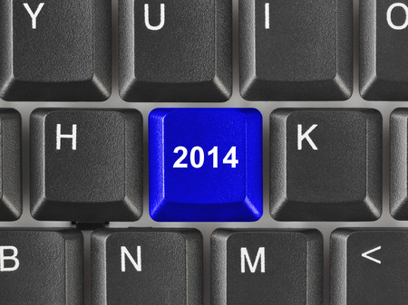 Computer keyboard with 2014 key - holiday concept Stock Photo - 23920631