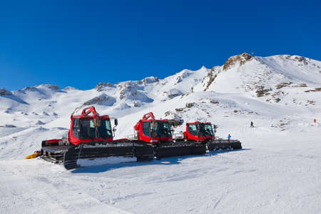 ski track: Machines for skiing slope preparations at Bad Hofgastein Austria  Stock Photo