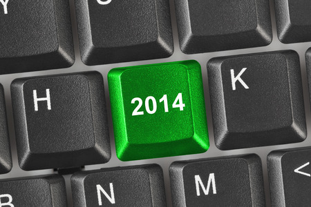 Computer keyboard with 2014 key - holiday concept Stock Photo - 24254202