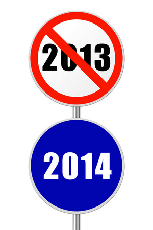 Round sign 2014 - New Year concept isolated on white background photo