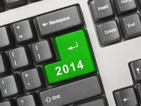 Computer keyboard with 2014 key - holiday concept Stock Photo - 24473259