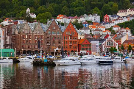 Famous Bryggen street in Bergen Norway - architecture background photo
